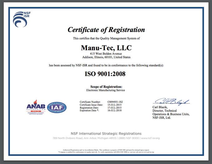 Manu-Tec certificate of registration
