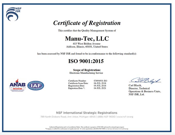 Manu-Tec certificate of registration